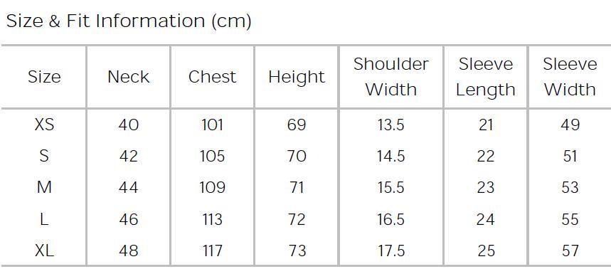 Size Chart Men Standard Shirt- Short Sleeves