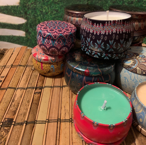 Essential oils lightly scent my soy wax container candles.