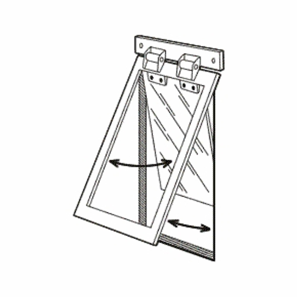 Illustration of use for Heavy Duty Dog Door®  When the dog goes out, the entire assembly  opens up about the mounting bar's hinges. When the dog returns, the frame stays and only the acrylic panel passes through the wall/door allowing the dog back in with the use of the  hinges attached to the panel.