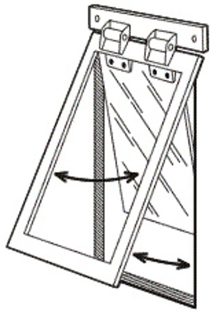 Dog pushes aluminum frame and acrylic panel to exit.  Dog pushes only acrylic panel  to re-enter building.