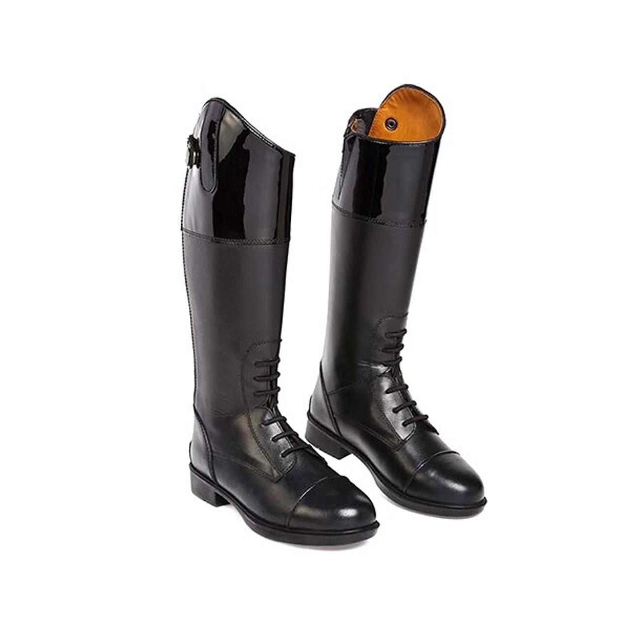 Chelico Amelia Kids Patent Top Riding Boots Black