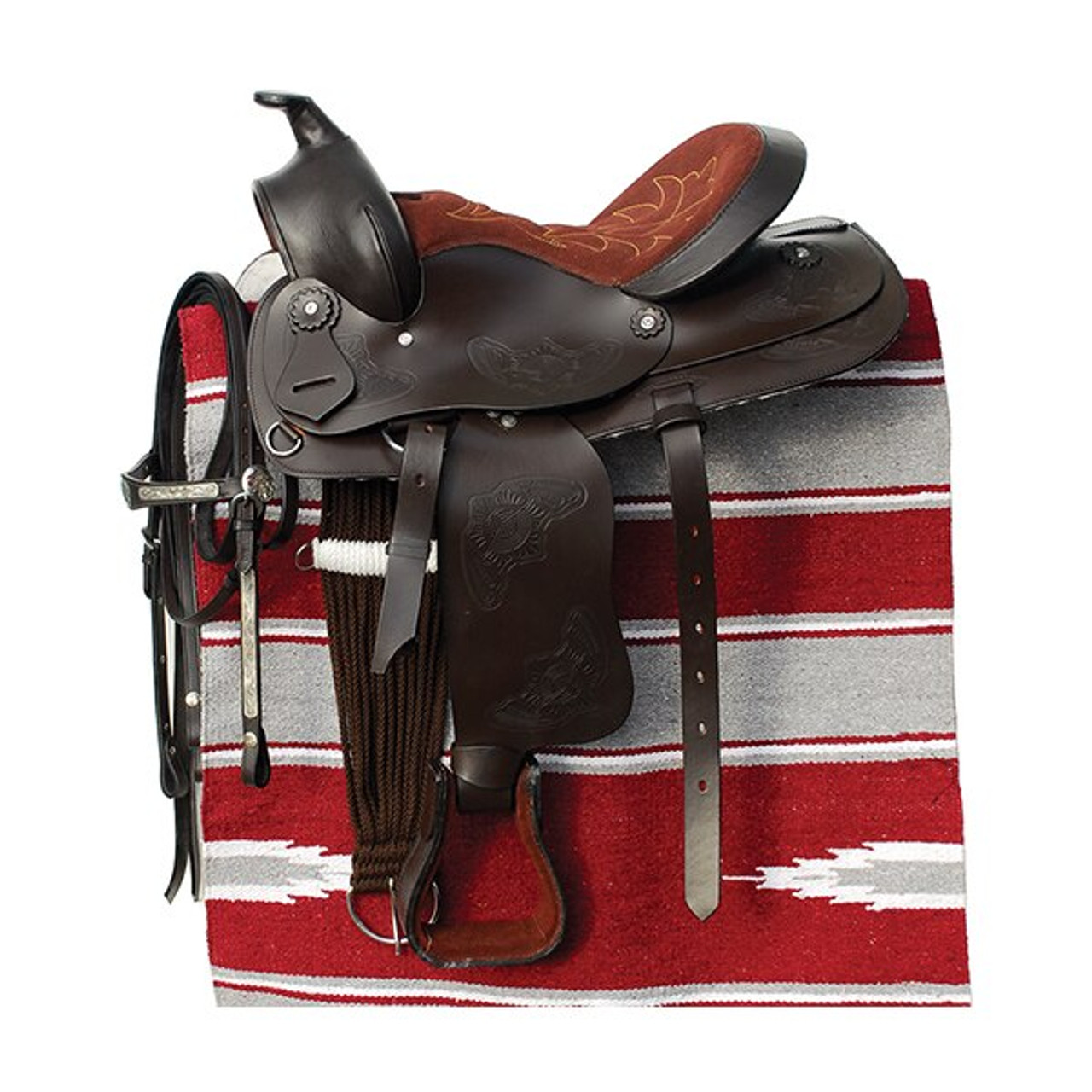 Windsor Western Saddle Bridle And Saddle Pad Set Havana Hooves And Boonies