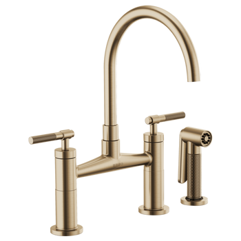 Brizo - Litze Bridge Faucet with ARC Spout and Knurled/Industrial Handle