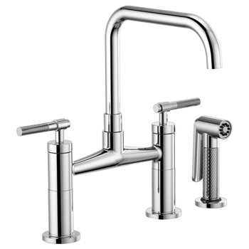 Brizo - Litze Bridge Faucet with Square Spout and Knurled/Industrial Handle