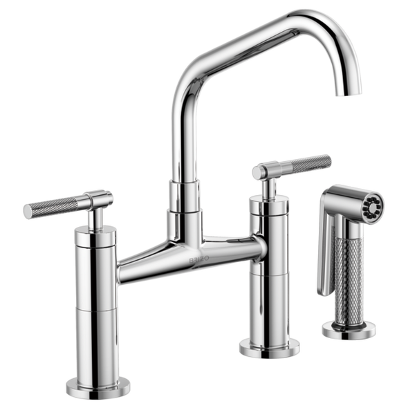 Brizo - Litze Bridge Faucet with Angled Spout and Knurled/Industrial Handle