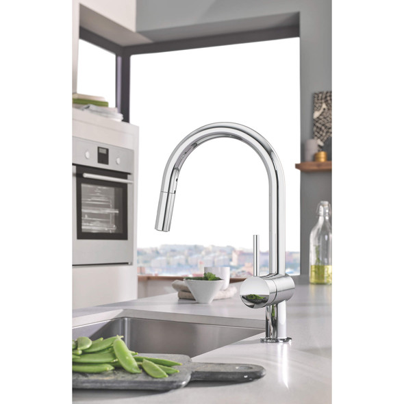 Grohe - Minta® Single-Handle Pull Down Kitchen Faucet Dual Spray