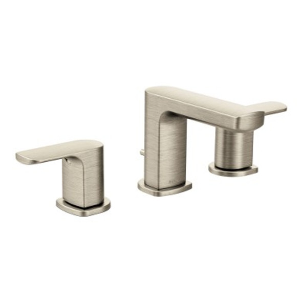 Moen - Rizon Brushed Nickel Two-Handle Low Arc Bathroom Faucet