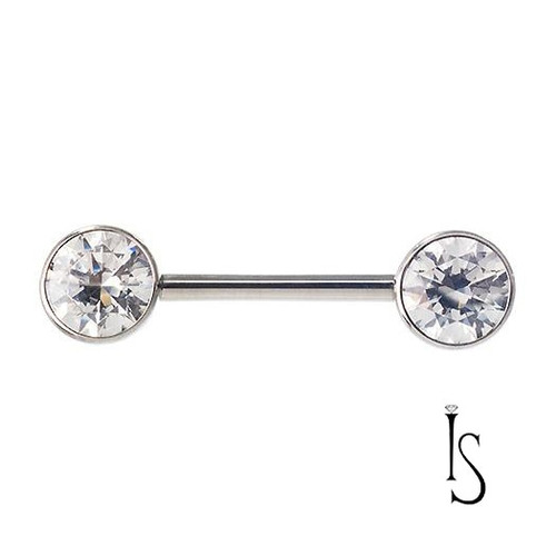 SS Side Set 3 Prong Jewelled Barbell (IS) 6mm 12ga 3/8 '' White CZ