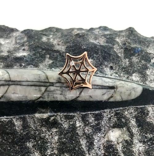 14k R Spiderweb Threaded End 16ga w/1mm Diamond