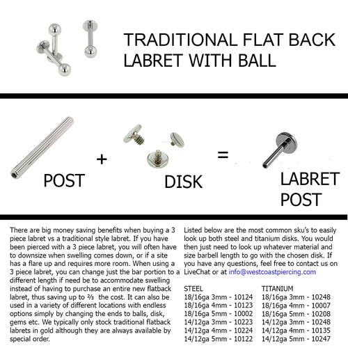 Steel & Titanium Labret Information