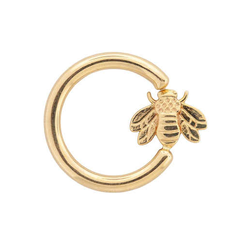 14K R Seam Ring w/ fixed Bee (horizontal) 16ga 7/16""
