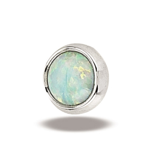 14K W Super Flat Cab 16ga 4mm #17 White Opal