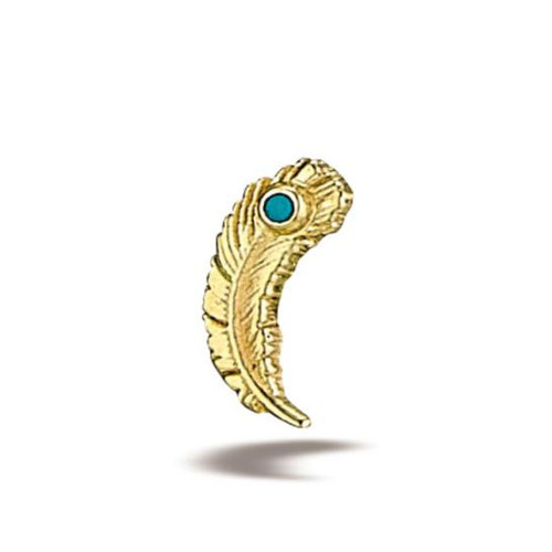 14K Y Jewelled Feather (right) 16ga CZ