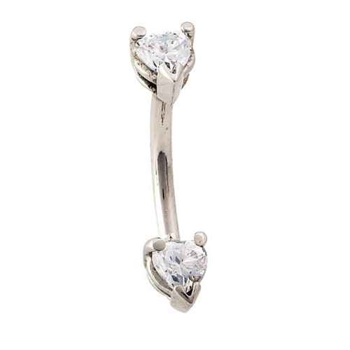 "14K W Double Heart Curved Barbell 14ga 7/16"" CZ"