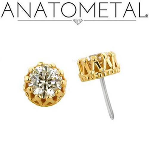 18K Y King Standard Earring 20ga 4mm CZ