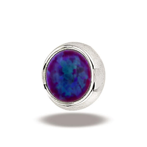 14K W Super Flat Cab 16ga 3mm #52 Purple Opal