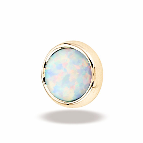 14K Y Super Flat Cab 16ga 3mm #17 White Opal