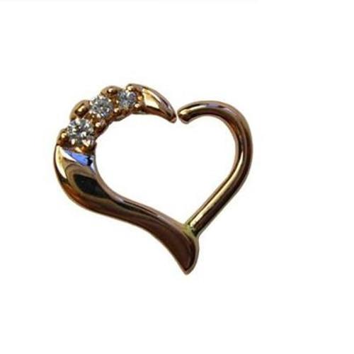 14k Y Mina Heart Seam Ring 16ga 3/8'' Left CZ