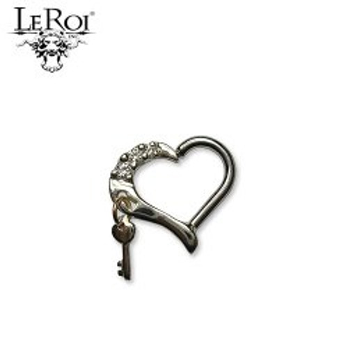 14k Y Avain Heart Seam Ring w/Y Key 16ga 3/8'' Left CZ