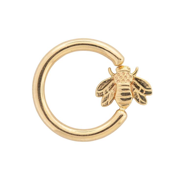 "14K R Seam Ring w/ fixed Bee (horizontal) 16ga 7/16"""
