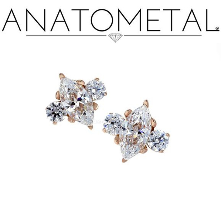 18K Marquise Prong End w/side accents 16ga CZ