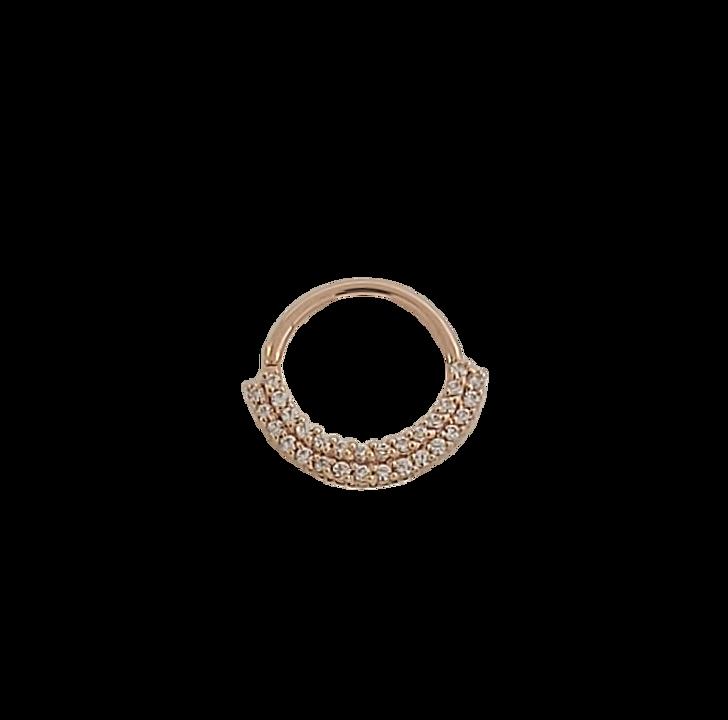 14K R Double Dahlia Seam Ring 3/8'' 18ga CZ