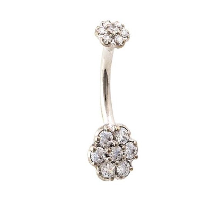 """14K W Double Flower Curved Barbell 14ga 3/8"""" CZ"""