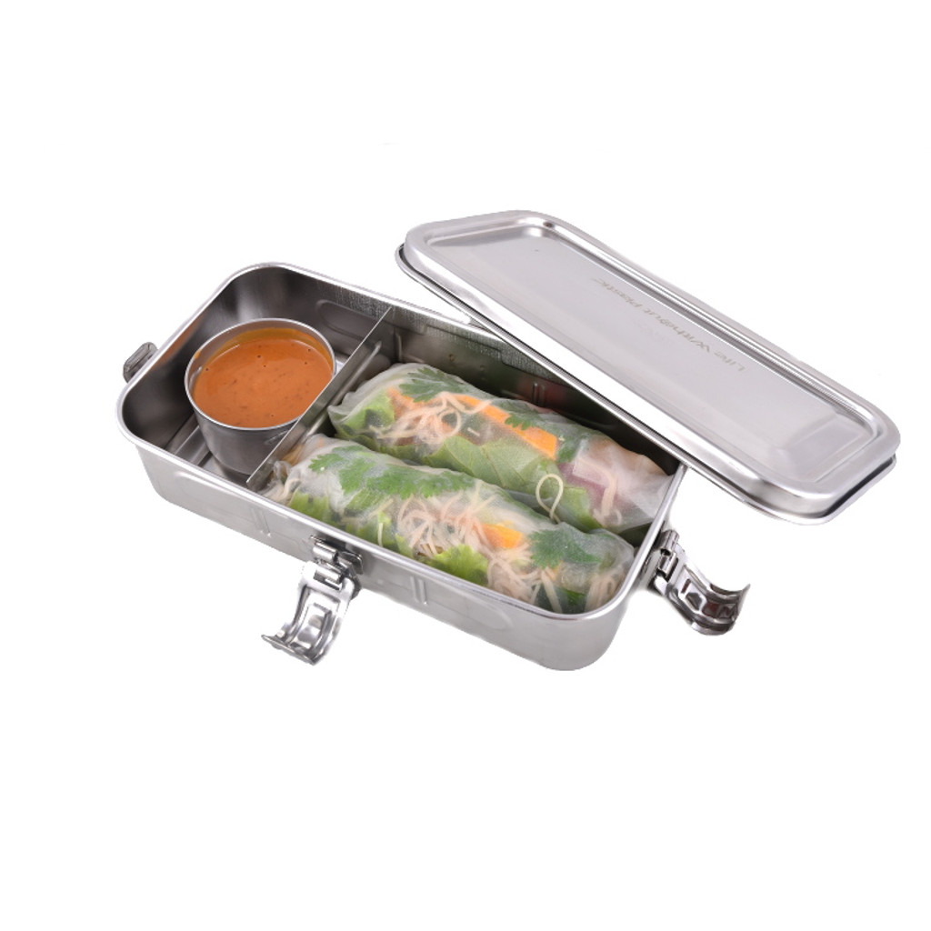 Stainless Steel Rectangular Airtight Container With Three Sections