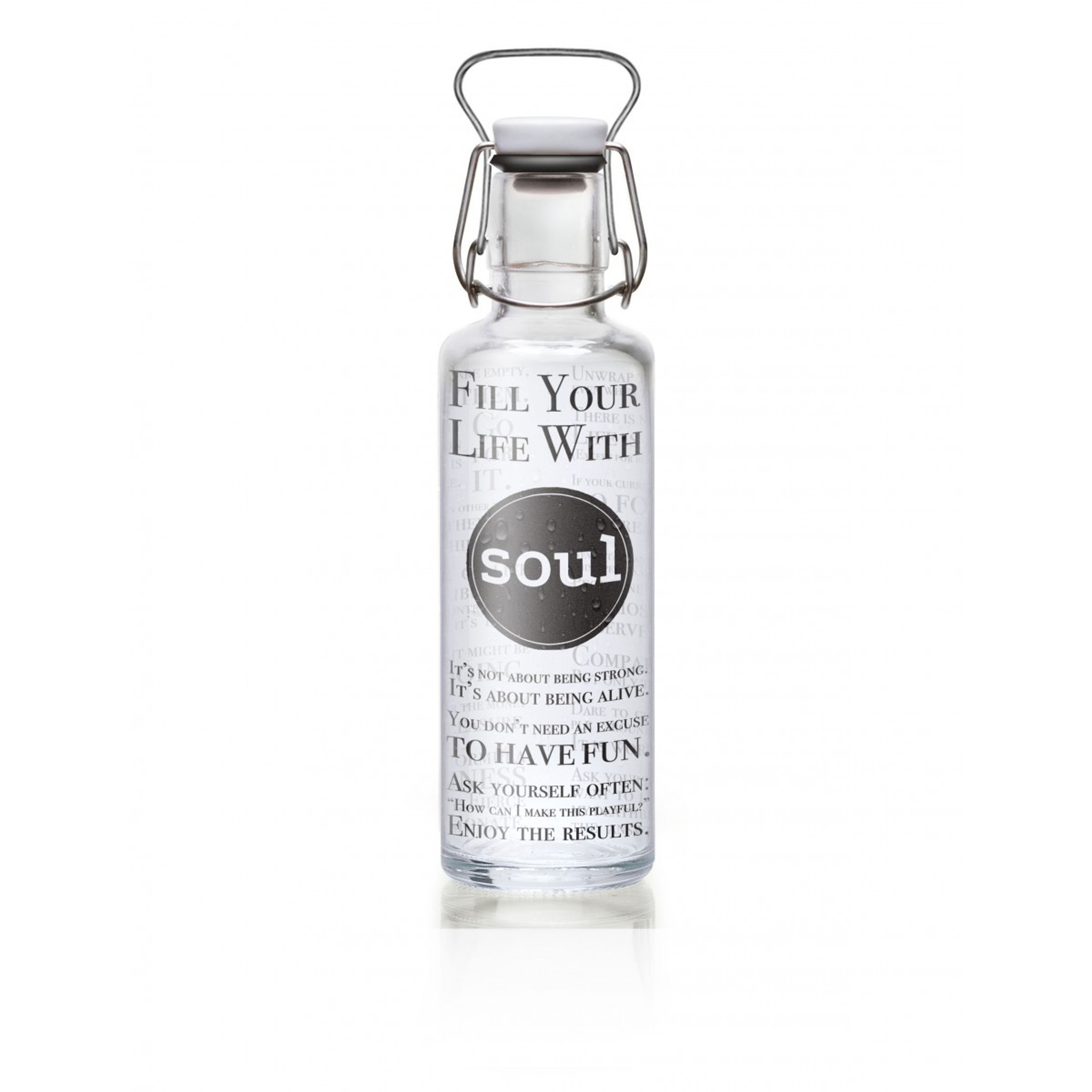 Glass plastic-free soulbottle 0 6 L - Fill your Life with Soul