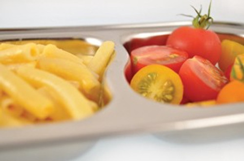 Stainless Steel Food Tray with Two Compartments