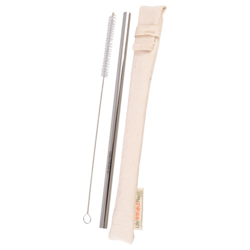 Stainless Steel Straw in an Organic Cotton Sleeve with Cleaning Brush