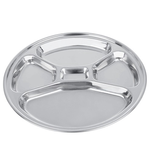 SALE - Stainless Steel Food Tray with Five Compartments