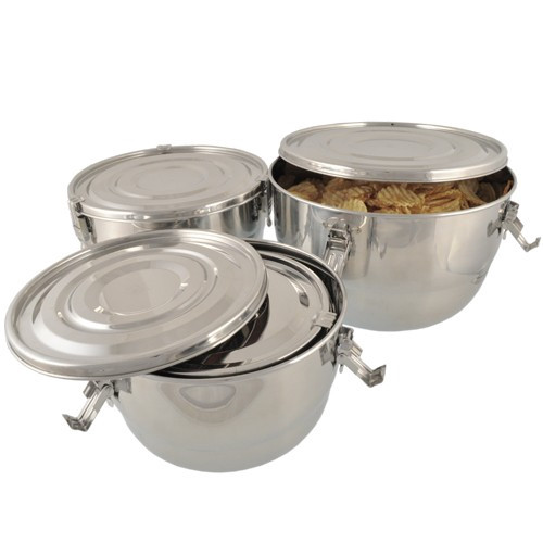 Set of 4 Large Stainless Steel Airtight Containers - Nestable