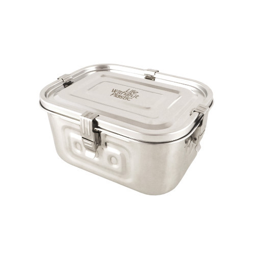 Large Stainless Steel Airtight Rectangular Freezer Storage Container - 2 L / 0.5 gal