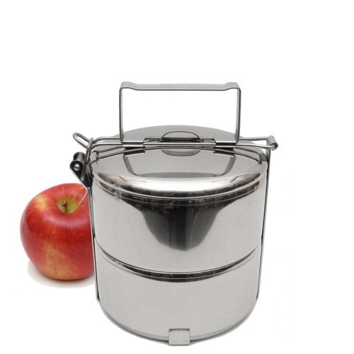 "2-Tier Stainless Steel 304 Tiffin, 14 cm / 5.5"" Diameter"