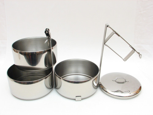 "3-Tier Stainless Steel 304 Tiffin, 14 cm / 5.5"" Diameter"