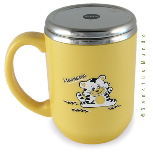 SALE - Double Walled Yellow Tiger Mug with Stainless Steel Interior