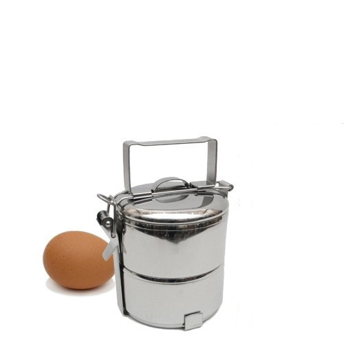 "2-Tier Stainless Steel 304 Mini Tiffin, 10 cm / 4"" Diameter"