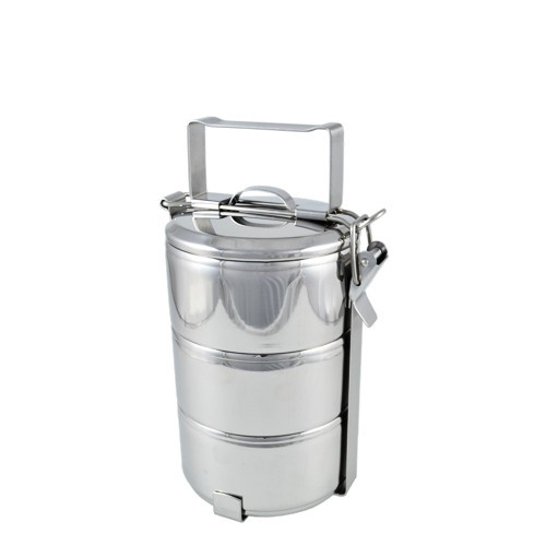 Stainless steel tiffin 3 tiers - white background