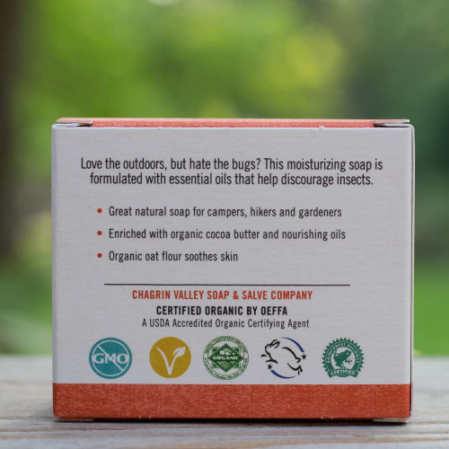 Natural soap for camping - back view