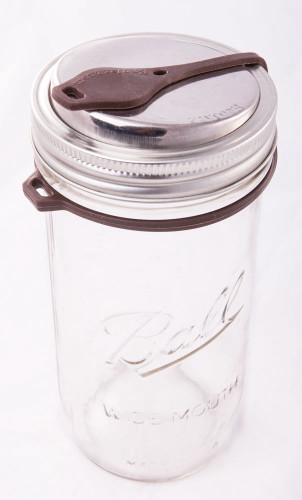 SALE - Ecojarz Pop Top Sealable Drinking Jar Lid for Wide Mouth Mason Jars - Brown
