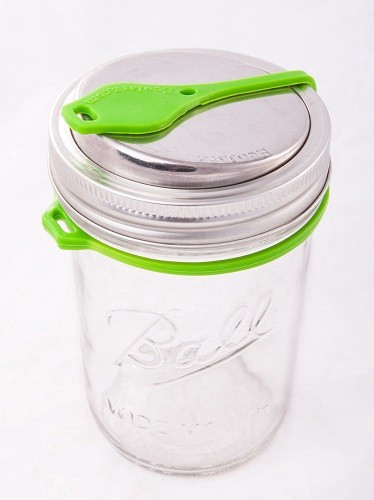 EcoJarz Pop Top Sealable Drinking Jar Lid for Wide Mouth Mason Jars - Green