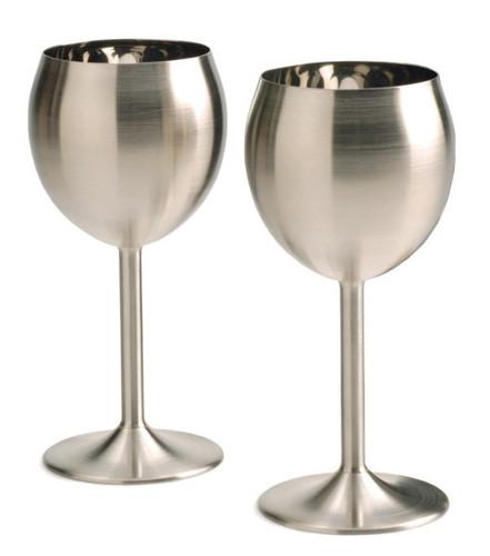 Stainless Steel Wine Glasses (set of  2)