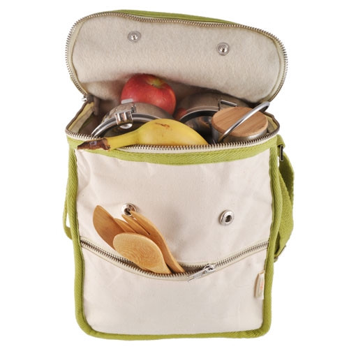 Wool Insulated Organic Cotton Lunch Bag - Olive Trim