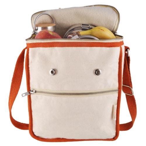 Wool Insulated Organic Cotton Lunch Bag - Orange Trim