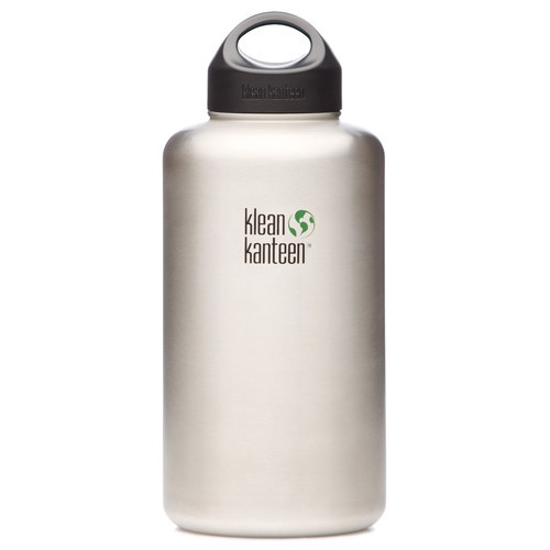SALE - Wide Mouth 1.9 L / 64 oz Klean Kanteen Bottle w/ Stainless Steel Loop Cap