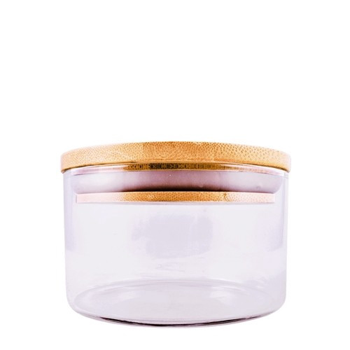 Medium Glass Jar With Bamboo Cap -  295 ml / 10 oz