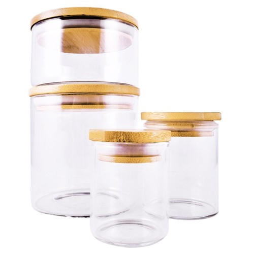 Extra Small Glass Jar With Bamboo Lid -  71 ml / 2.5 oz