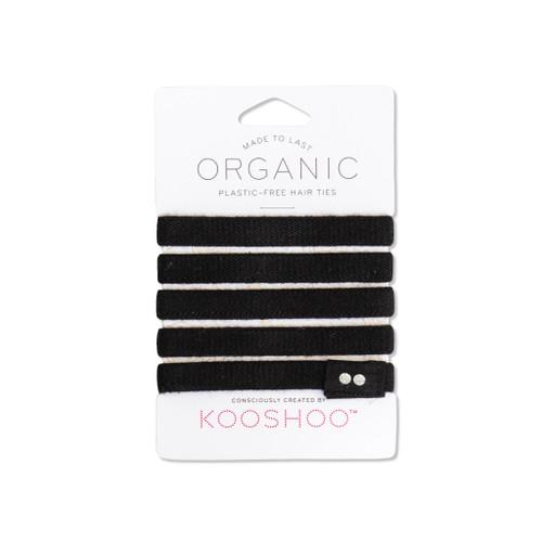 Natural black hair ties - front view
