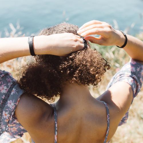 Natural black hair ties context in use
